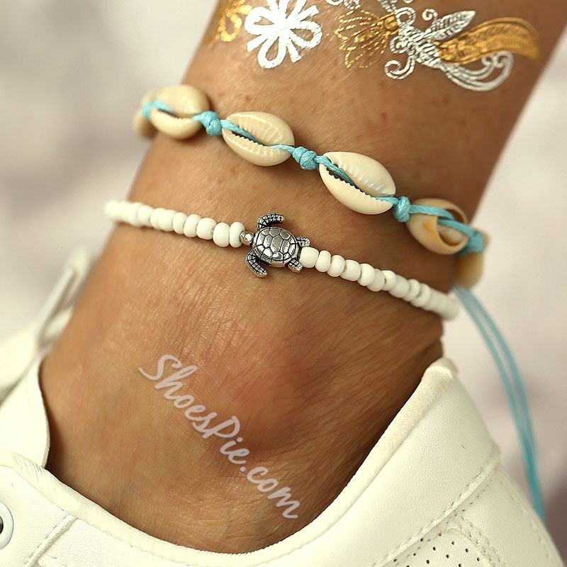 Vintage Shell Antique Beading Layered Beach Anklet