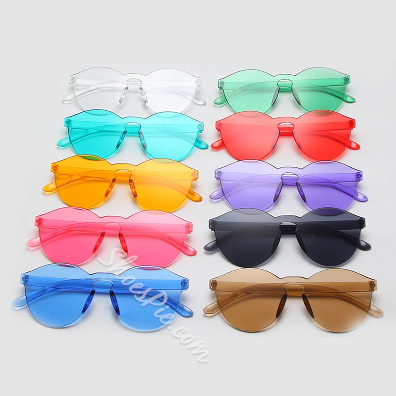 Transparent Colorful Women Retro Cat Eye Sunglasses