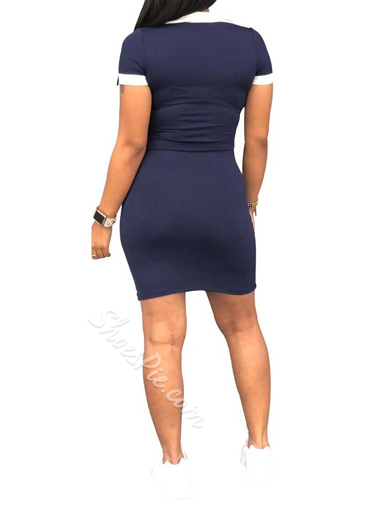 Short Sleeve Above Knee Patchwork Women's Bodycon Dress