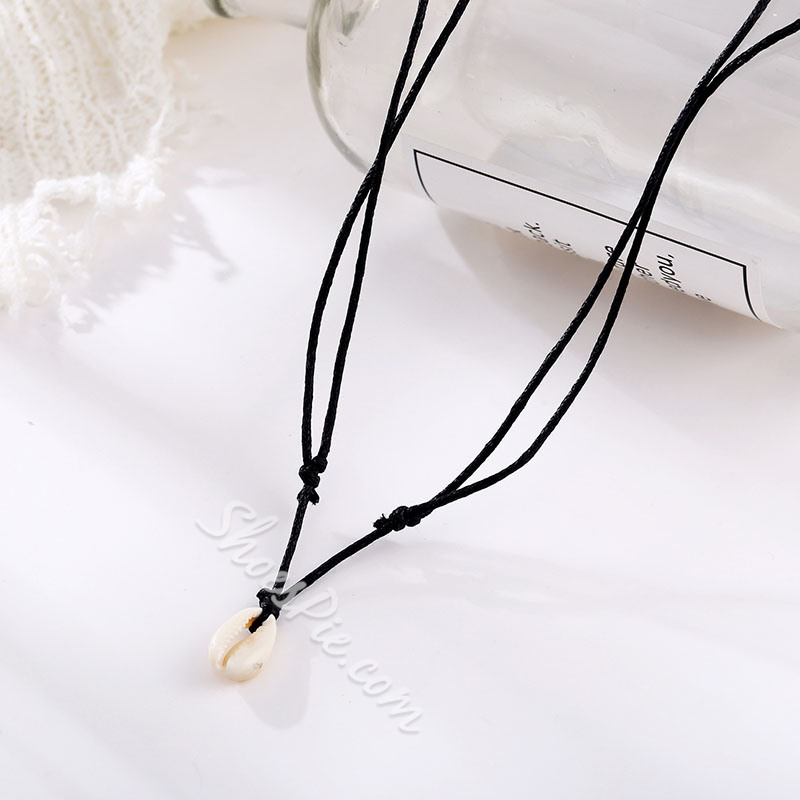 Shell Pendant Rope Choker Necklace for Women