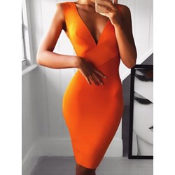 Sleeveless V-Neck Knee-Length Women's Dress