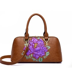 Shoespie Embossing PU Floral Rectangle Tote Bags