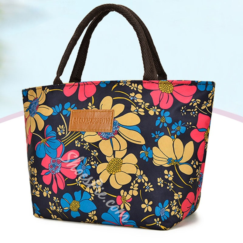 Shoespie Print PU Floral Square Tote Bags