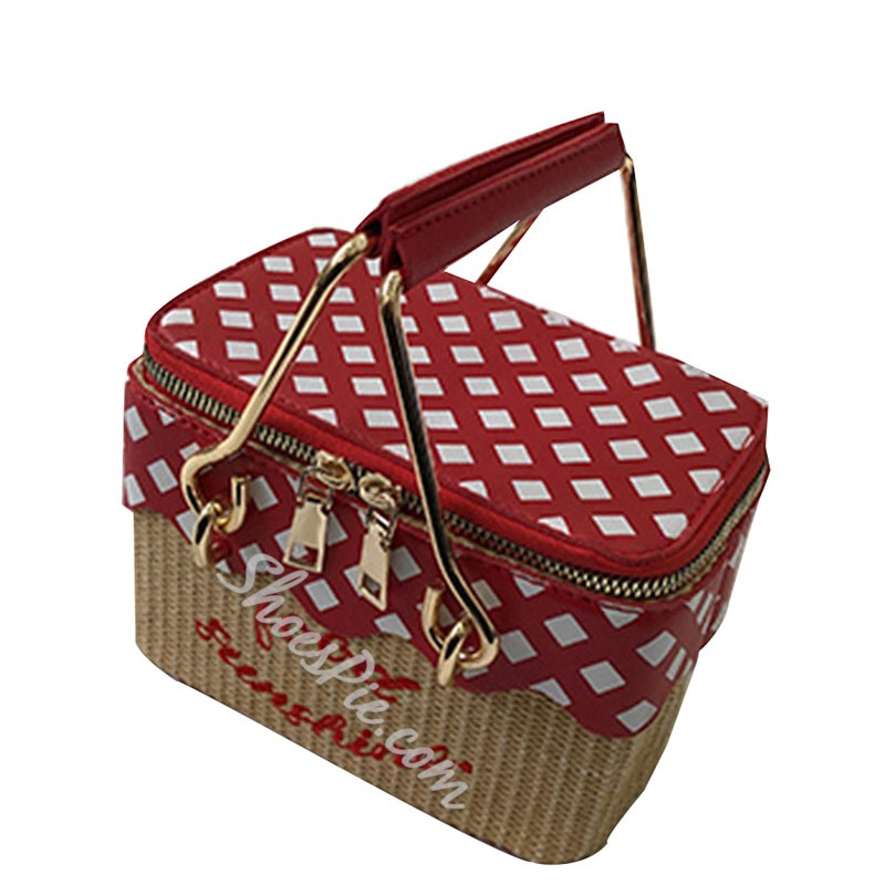 Shoespie PU Plaid Print Trunk Tote Bags