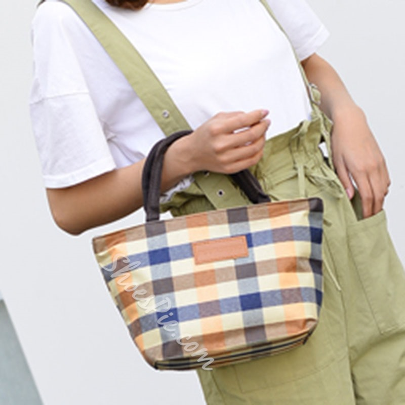 Shoespie PU Plaid Thread Square Tote Bags
