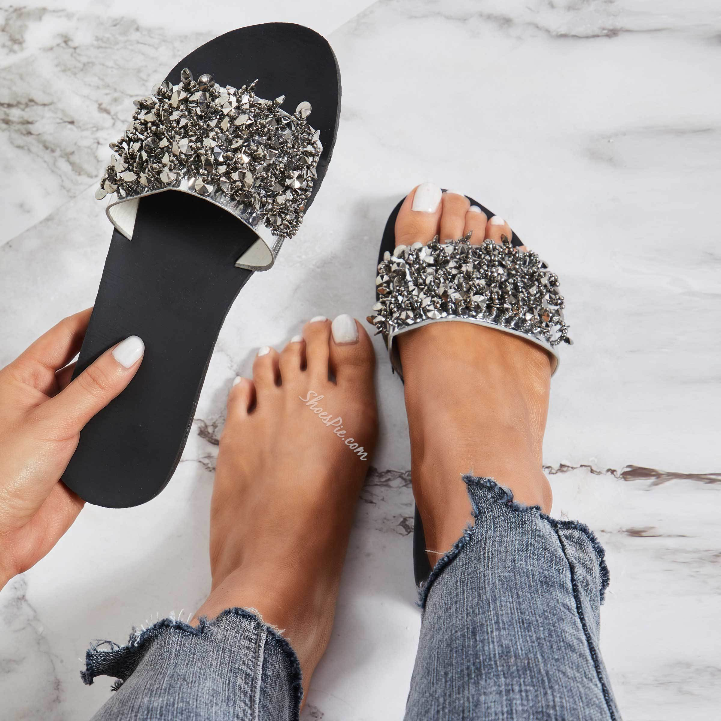 Shoespie Rhinestone Glitter Flat Summer Slippers