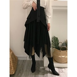Plain Asymmetric Mid-Calf High Waist Women's Skirt