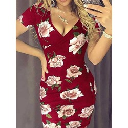 Print V-Neck Short Sleeve Floral Women's Dress
