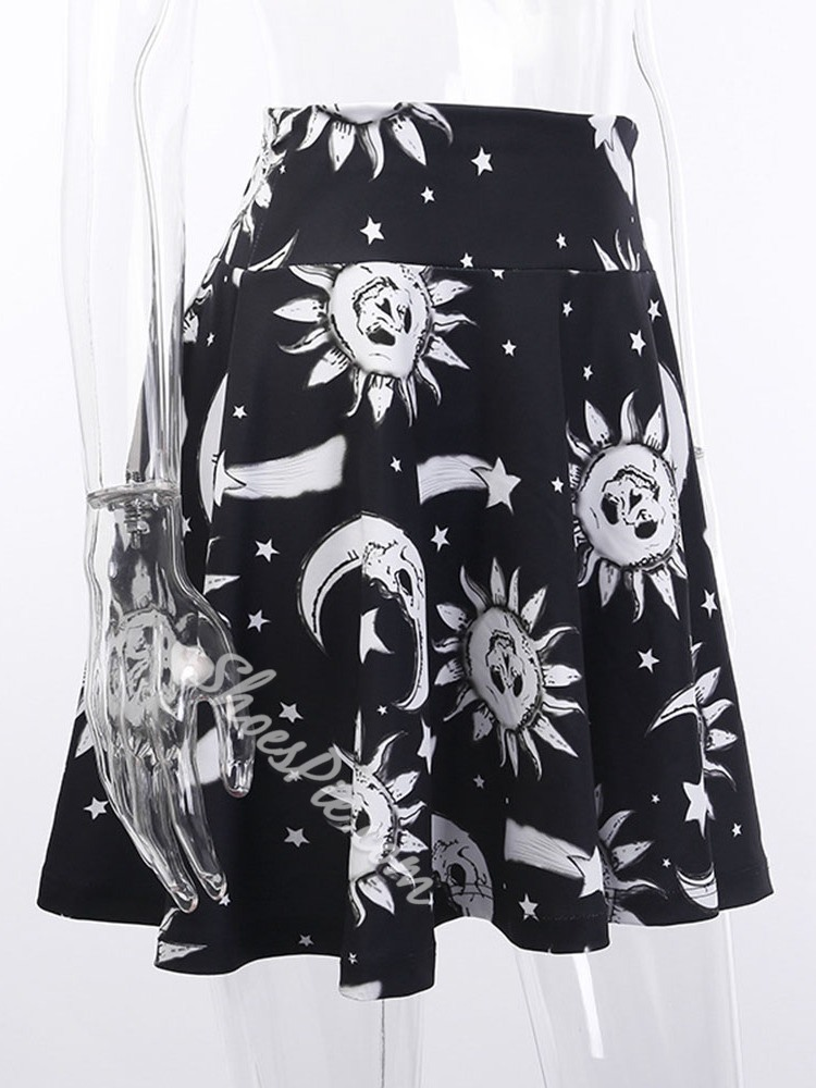 Halloween Costume A-Line Mini Skirt Print Women's Skirt