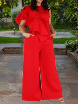 Plus Size Full Length Plain Loose Women's Jumpsuit