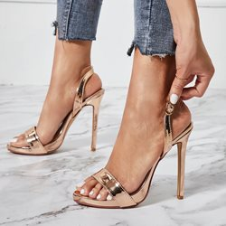 Shoespie Buckle Slingback Strap Glitter Sandals