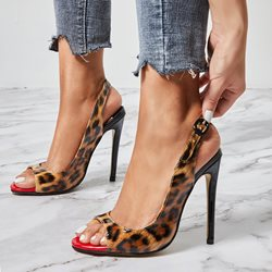 Trendy Leopard Slingback Strap Stiletto Heel Open Toe Sandals