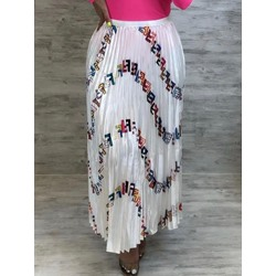 Print Ankle-Length Pleated Western Women's Skirt