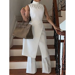 Full Length Plain Patchwork Wide Legs Women's Jumpsuit