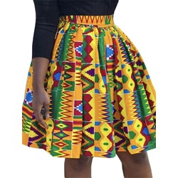 Geometric Pleated Print Western Women's Skirt
