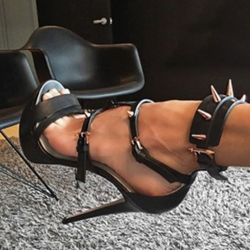 Shoespie Black Trendy Stiletto Heel Buckle Slingback Strap Plain Sandals