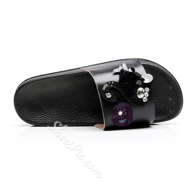 Shoespie Stylish Flat Sequin Slip-On Summer Slippers