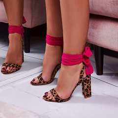 Shoespie Leopard Strappy Sexy Chunky Heel Sandals