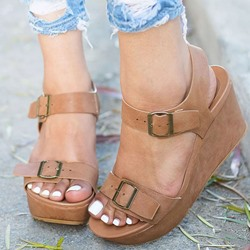 Shoespie Ankle Strap Wedge Heel Sandals