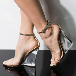 83468d158f Shoespie Open Toe Wedge Heel Ankle Strap Clear Sandals. Black Champagne