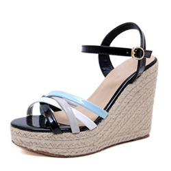 Shoespie Wedge Heel Buckle Sandals