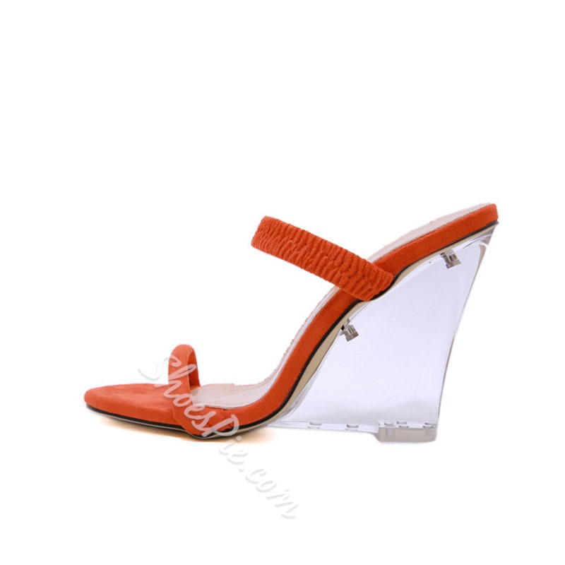 Shoespie Clear Open Toe Wedge Heel Mules