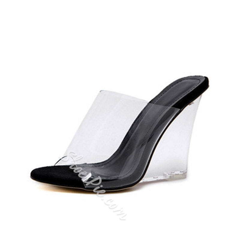 Shoespie Clear Jelly Wedge Heel Mules
