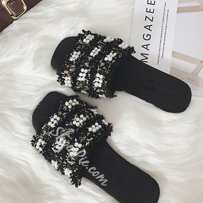 Shoespie Beaded Flat Slippers