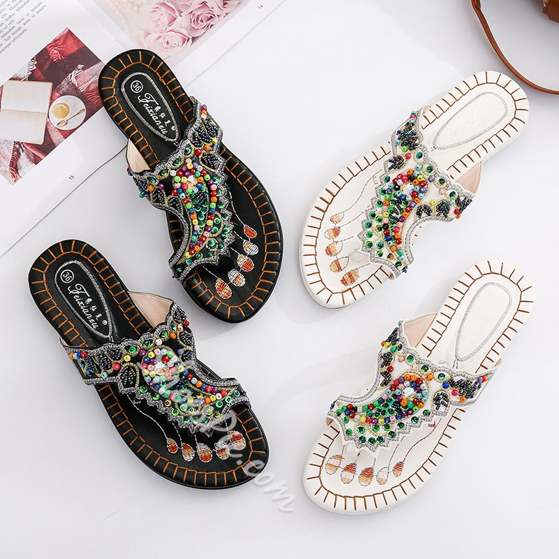Shoespie Clip Toe Beads Casual Slippers