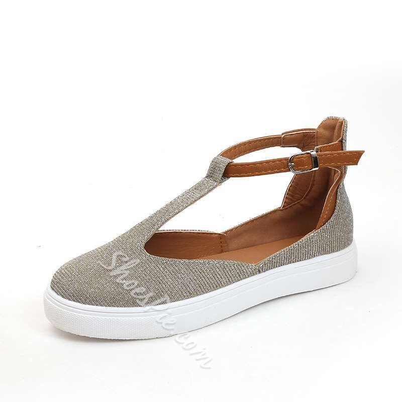 Shoespie Casual Buckle Round Toe Slip-On Flats