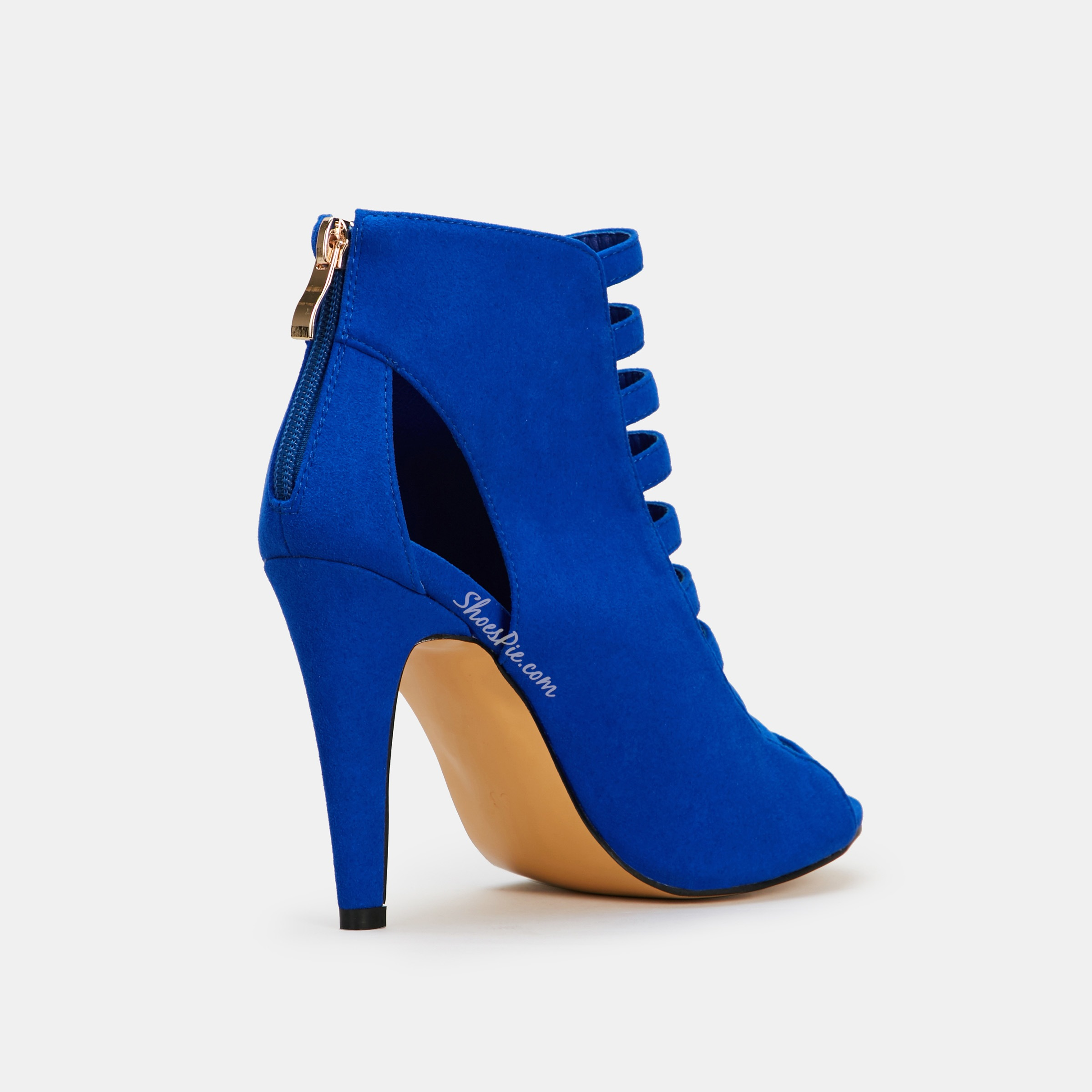 Shoespie Blue Zipper Stiletto Heel Sandals