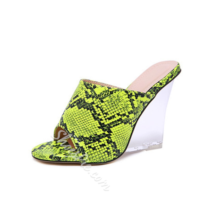 Shoespie Sexy Wedge Heel Serpentine Clear Mules