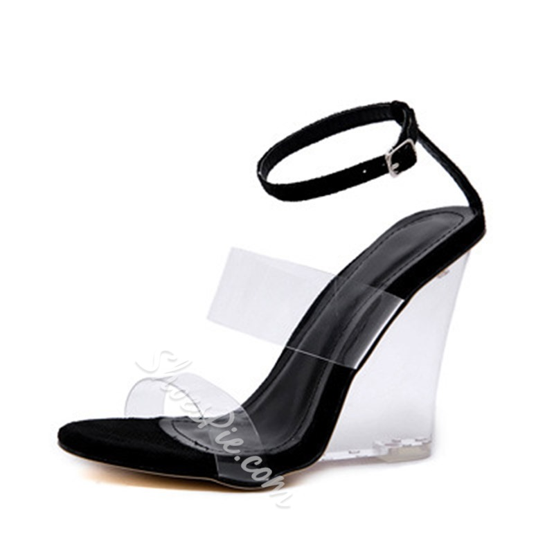 Shoespie Open Toe Wedge Heel Ankle Strap Clear Sandals