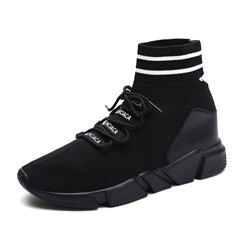 Shoespie Elastic Band HIgh Top Lace-Up Sneakers