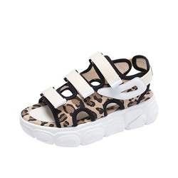 Shoespie Leopard Velcro Open Toe Sandals