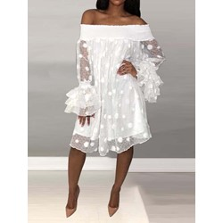Long Sleeve See-Through Off Shoulder Women's Causal Dress
