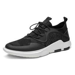 Shoespie Men's Black Lace-Up Sports Microfiber Sneakers