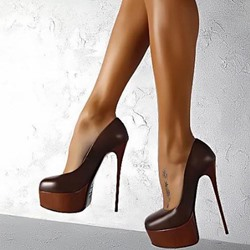 Shoespie Brown Stiletto Heel Platform Pumps