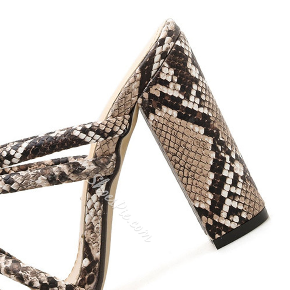 Shoespie Chunky Heel Serpentine Mules