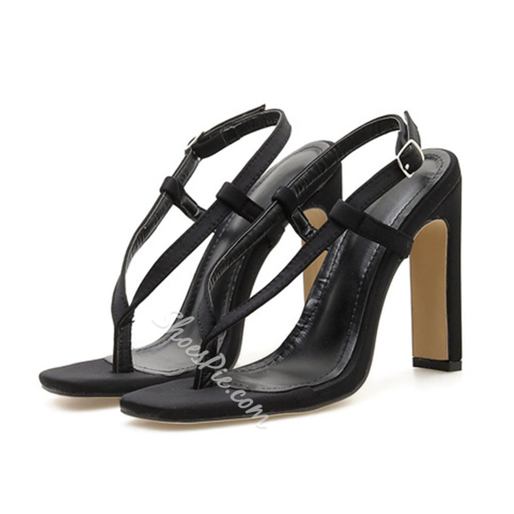 Shoespie Clip Toe Chunky Heel Slingback Strap Buckle Sandals
