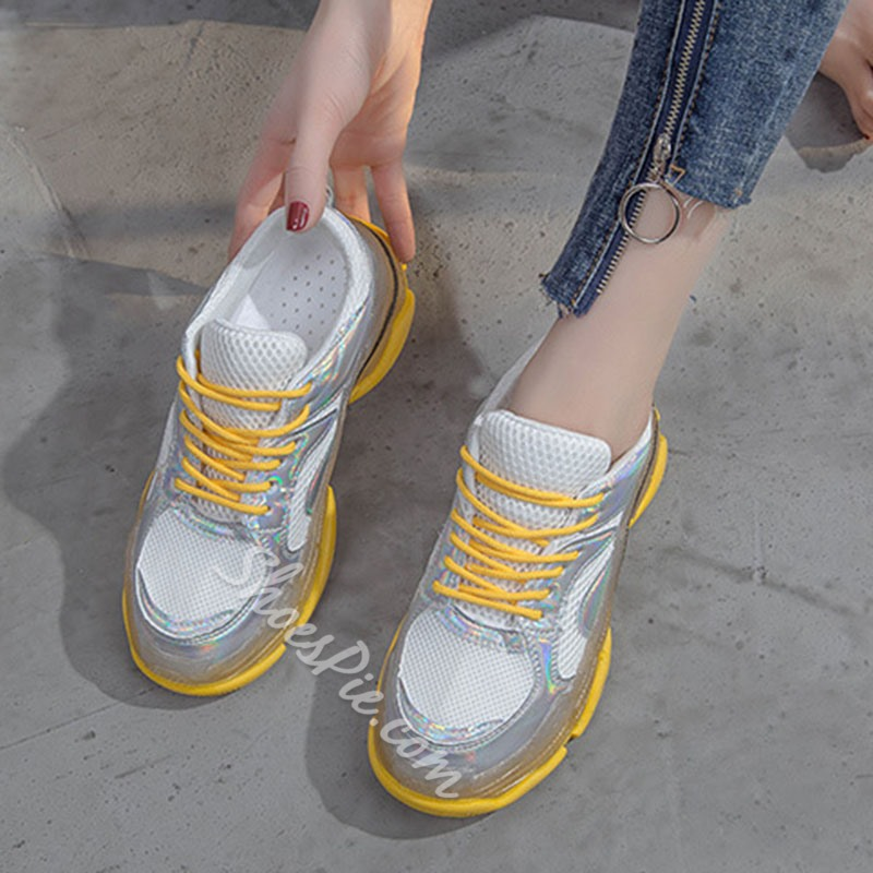 Shoespie Mesh Lace-Up Casual Sneakers