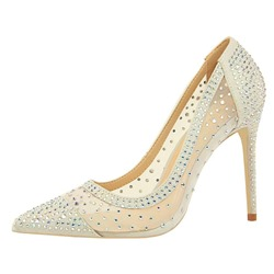 Shoespie Mesh Stiletto Heel Pointed Toe Rhinestone Pumps