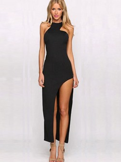 Round Neck Asymmetric Ankle-Length Women's Dress