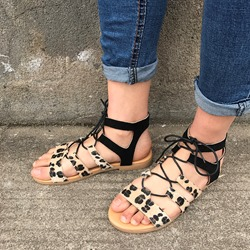 Shoespie Leopard Strappy Lace Up Sandals