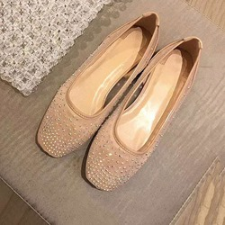 Shoespie Rhinestone Square Toe Casual Flats