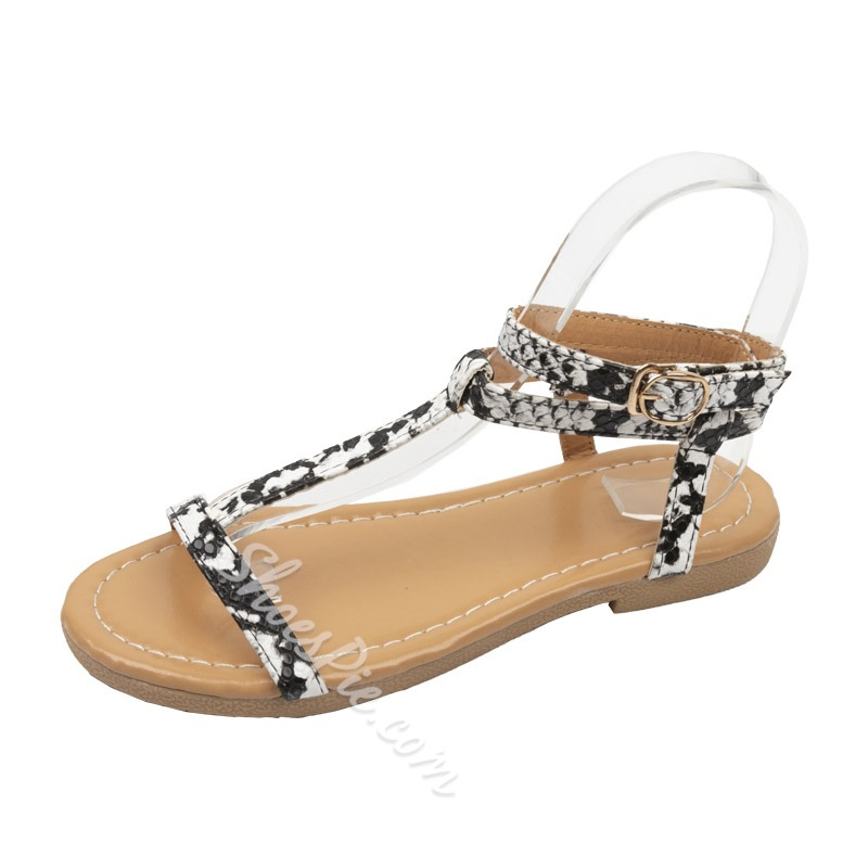 Shoespie Flat Strappy Buckle Leopard Sandals