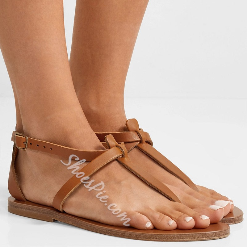 Shoespie Brown Buckle Flat Thong Casual Sandals