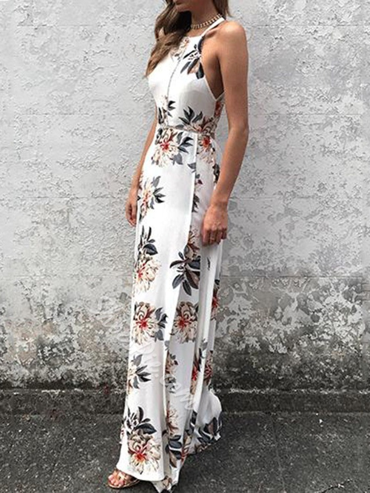 Round Neck Split Floor-Length Halter Women's Dress