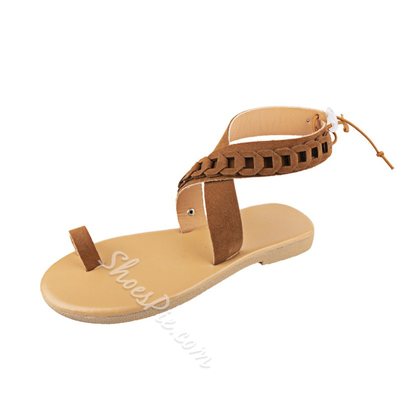 Shoespie Toe Ring Ankle Strap Flat Avesa Sandals