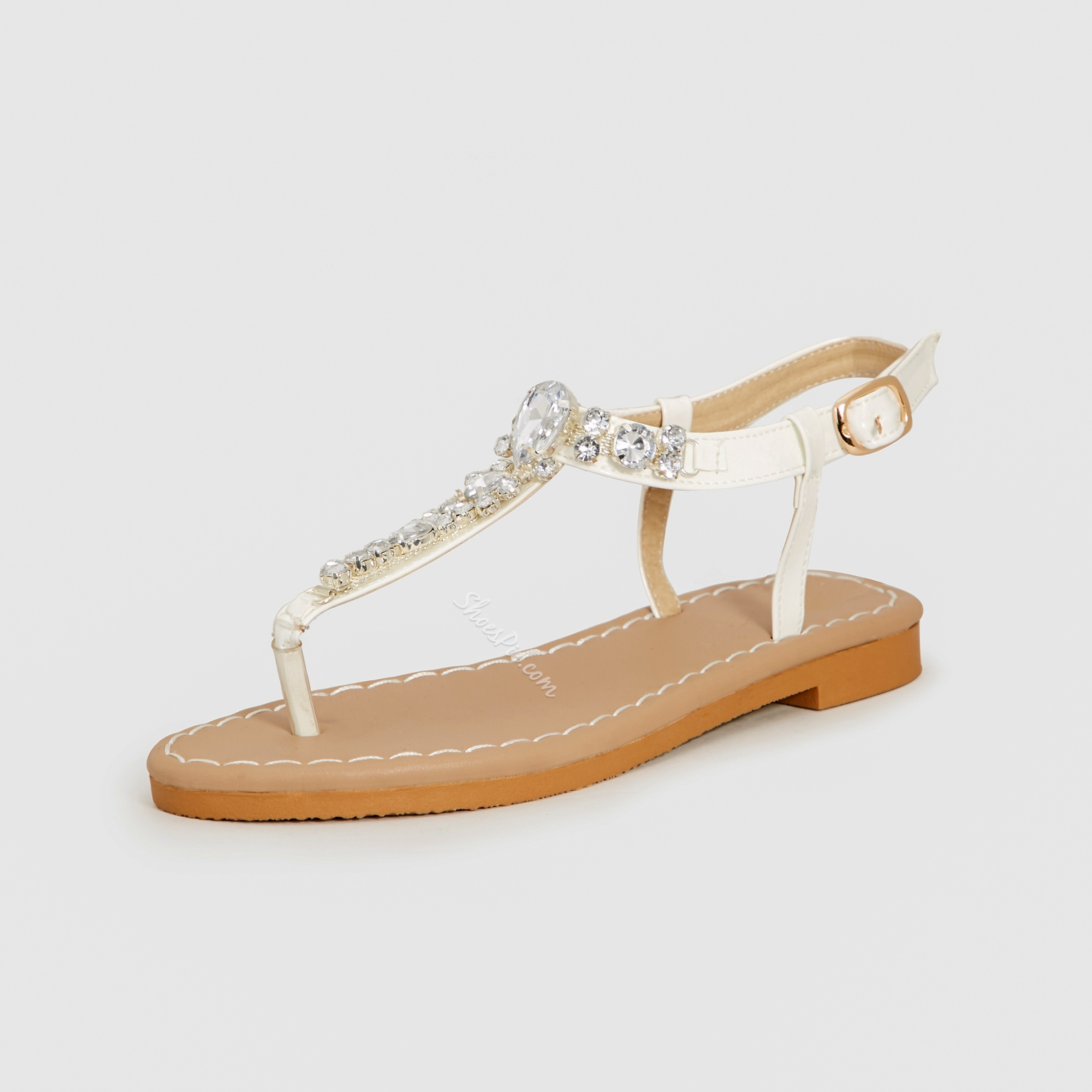 Shoespie White Rhinestone Thong Flat Sandals